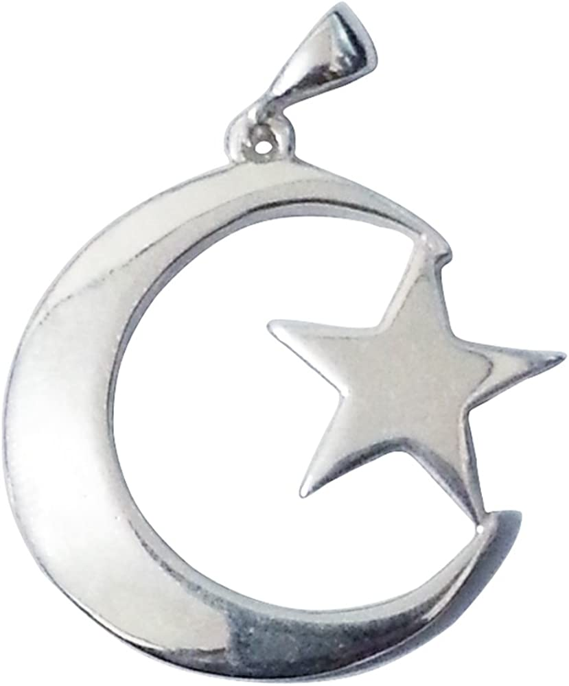 Large Sterling Award-winning store Silver Islamic Symbol famous Moon Turkis Star Crescent