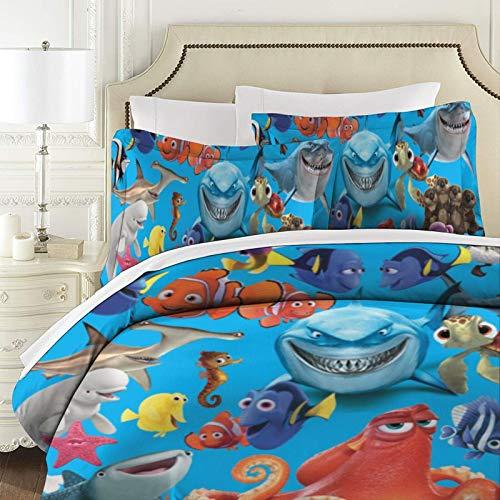 Findet Nemo gesteppte Tagesdecke/Überwurf, 3-teiliges Schlafzimmerzubehör, antiallergene geprägte Steppdecke, Bettdecke für Super-King-Size-Betten