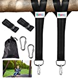 Newtion 2 PCS Tree Swing Straps Hanging Holds Kit - 5 Ft Extra Long Extension Straps Rope Max 2200 LB with Heavy Duty Lock Carabiner Hooks for Swing Set, Yoga, Seat, Tire, Camping, Porch, Tree