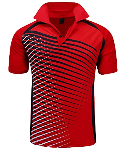 ZITY Mens Polo Shirt Cool Quick-Dry Sweat-Wicking Color Block Short Sleeve Sports Golf Tennis T-Shirt(Bred-L)