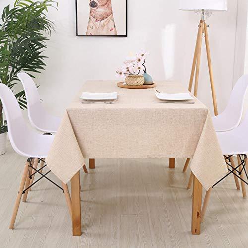 Yinaa Mantel Mesa Rectangular Impermeable Cubremesa Lino de Algodón Suave y Duradero para de Hogar Picnic del Hotel Tienda de Café Color Crema 120×160cm
