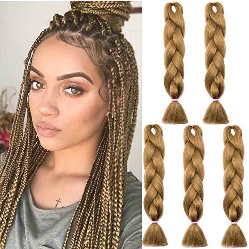 SEGO Meche Pour Tresses Africaine Tressage Rajout Extension Cheveux Fibre Synthetique Box Crochet Braids 5 Pcs (3 Couleurs 500g) - 24 Pouces Marron