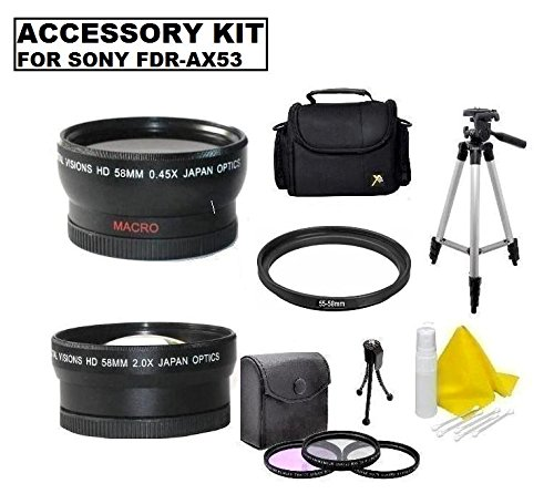 Video Camera Accessory Kit ( Wide, Tele, Bag, Filters, Tripod & more) For Sony FDR-AX53 Camcorder