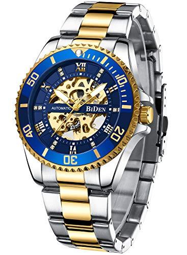 Herren Uhren Automatikuhr Mechanische Skelett Glasboden Diamant Zifferblatt Wasserdicht Männer Valentinstag Armbanduhr mit Edelstahl Armband Elegant Lässig -Blau Gold