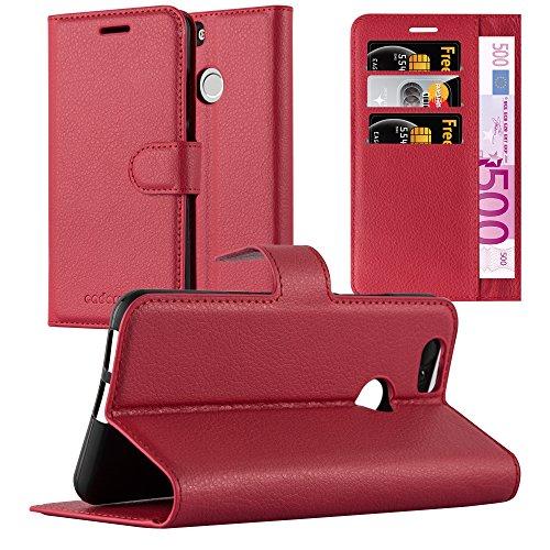 Cadorabo Hülle für Huawei NOVA in Karmin ROT - Handyhülle mit Magnetverschluss, Standfunktion & Kartenfach - Hülle Cover Schutzhülle Etui Tasche Book Klapp Style