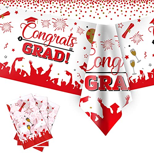 Graduation Tablecloths, 3 Pack Large Size Plastic 54'x108' Congrats Grad Graduation Party Tablecover Decorations for Class of 2021-Red