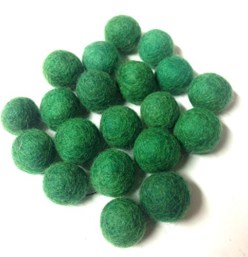 Yarn Place Felt Wool Felted 100 Balls 1 Color Pack Size: 10 mm (Christmas Green 46)