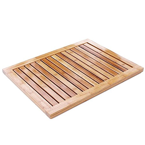 EcoTrueBamboo Bamboo Mat Outdoor Shower, Kitchen - Non Slip for Bathroom, Kitchen Decor, Pool Use, and Shower Stalls Bathtubs, Mold and Mildew Resistant with Drainage (23Wx17Lx2H - Antislip)