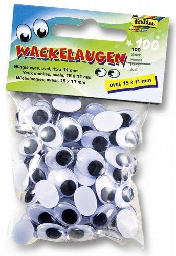 folia 751511 - Wackelaugen mit beweglicher Pupille, weiß, oval ca. 15 x 11 mm, 100 Stück - ideal für das Basteln von Figuren und Tieren
