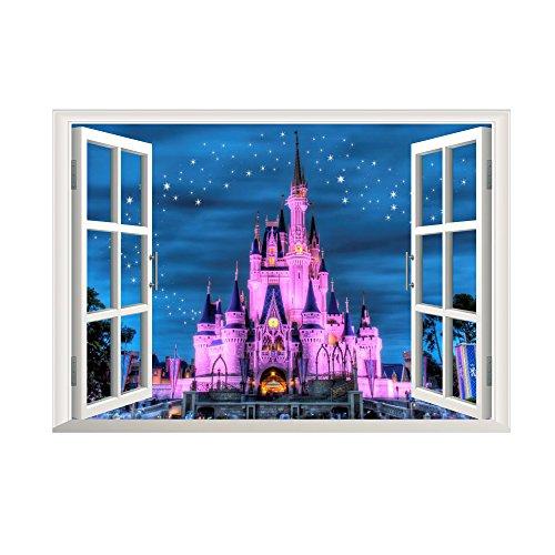 Winhappyhome 3D Castle Faux Window Scene enfants Stickers muraux pour fond Nursery Salon Salle amovible Décoration Stickers