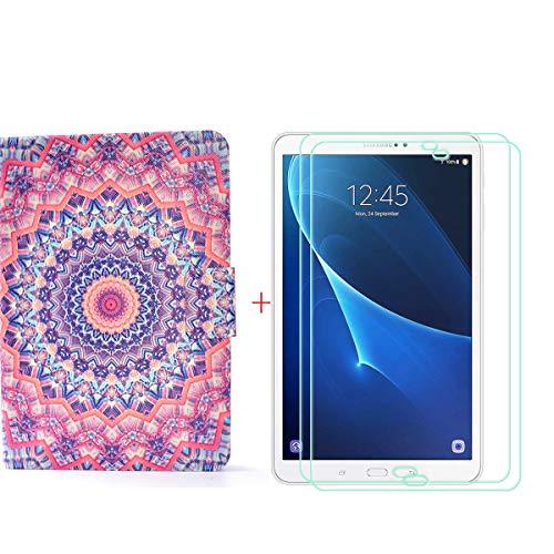 szjckj 2 Piezas Protector de Pantalla + PU Carcasa para Samsung Galaxy Tab A6 SM-T280 (7,0'), Funda Protectora con Función de Soporte - HD Cristal Vidrio Templado Protector - LW82