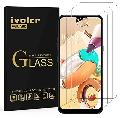 ivoler 3 Stücke Panzerglas Schutzfolie für LG K41S / LG K51S / LG K52 / LG K42, 9H Festigkeit Panzerglasfolie, Anti-Kratzen Folie, Anti-Bläschen Bildschirmschutzfolie, Kritall-Klar Hartglas