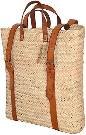 Palm Leaf Backpack Straw Bag Made Shopping and Picnic Baskets Traditional Moroccan Bag Leather product image