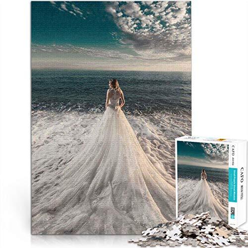 Rompecabezas 1000 Piezas Ocean Girl White Wedding Landscape Rompecabezas desafío Rompecabezas Rompecabezas de Madera 50x75cm Juguete de descompresión Mental para Adultos y niños