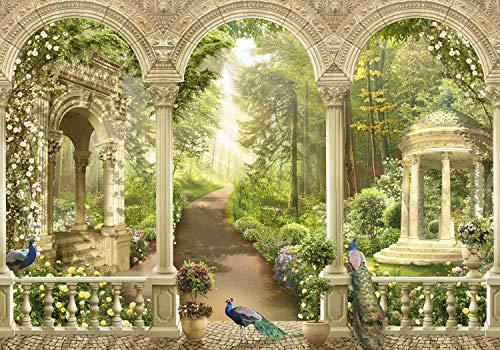 wandmotiv24 Fototapete Park Garten Blumen L 300 x 210 cm - 6 Teile Fototapeten, Wandbild, Motivtapeten, Vlies-Tapeten Pfau, Säulen, Tiere M1136