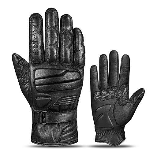 INBIKE Motorrad Handschuhe Herren Damen 100% Ziegenleder 5MM Eva Schutz Motorrad Handschuhe Für Motorrad Radfahren Motocross L CM310