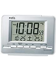 セイコークロック 置き時計 01:銀色メタリック 本体サイズ:9.0×12.3×4.6cm 電波 デジタル 温度 表示 PYXIS ピクシス BC411S