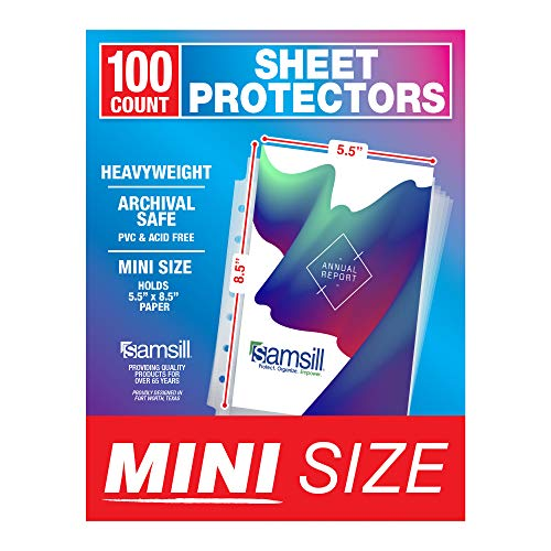 Samsill 100 Pack Mini Clear Heavyweight Sheet Protectors, 5.5 x 8.5 Inch Page Protectors for Mini Ring Binders