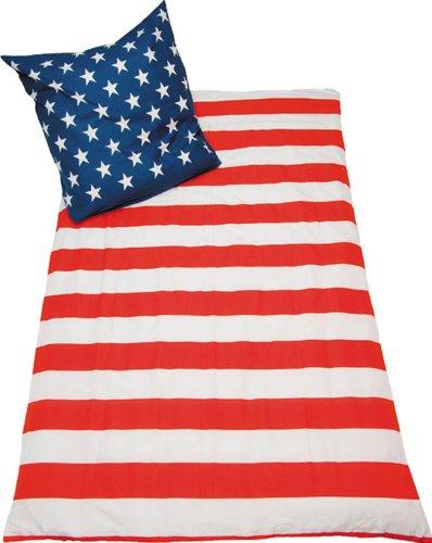 USA Bettwäsche Stars and Stripes Nightflag Amerika 135x200 mit Kissen 80x80cm