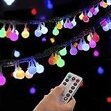 Guirlande lumineuse sphérique, guirlande lumineuse d'extérieur avec prise 100 LED 8 modes avec télécommande pour chambre à coucher, intérieur, jardin, Noël et mariage (Multicolore)