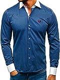 BOLF Hombre Camisa de Rayas De Manga Larga Cuello Italiano Camisa de Algodón Slim fit Estilo Casual 4784-A Azul Oscuro L [2B2]