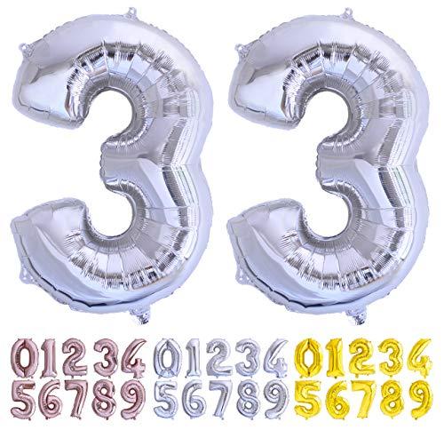 Globo Numero 33 Plata. Globos Gigante números 3 3 disponoble del 0 al 99 Fiestas cumpleaños decoración Fiesta Aniversario Boda tamaño Grande 70 cm con Accesorio para inflar Aire o Helio (33 Plata)