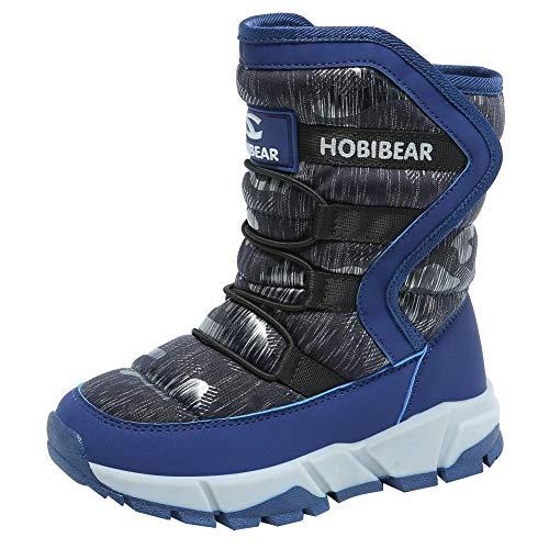 [GUBARUN] ブーツ キッズ あったか スノーブーツ ウィンターブーツ 女の子 裏ボア スキーブーツ 長靴 ガールズ アウトドア 冬用 ジュニア ハイカット スノーシューズ 防寒 ファー (ブルー/グレイ 18.0cm)