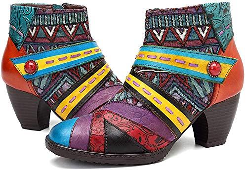 Socofy Damen Ankle Boots, Kurzschaft Stiefel High-Top Classic Lederstiefel Leather Boots Frau Zipper Handmade Chukka Lederschuhe (Hersteller-Größentabelle IM Bild Beachten)