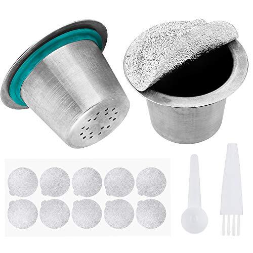 Nachfüllbare Edelstahl 304 Metall Espresso Kaffeefilter Kapsel Nachfüllen Tasse Maker Pods Arbeiten für Nespresso Kaffeemaschine 2 pack (mit Löffel, Dichtungen und Pinsel)