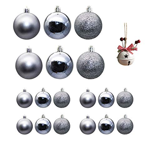 Wenjuan 18pcs Christmas Balls Ornaments Party Xmas Tree Decorations Hanging Ornament,Shatterproof Plastic Christmas Decoration Xms Balls Baubles Set with Christmas Bell