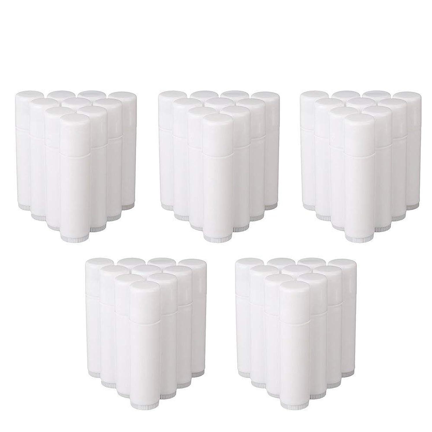 パスタ勇者サーマルCOOLBOTANG リップバームチューブ リップクリーム 繰り出し ホワイト 手作りコスメ 手作り化粧品/リップクリーム 50個 5g ミニ 詰め替え容器