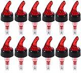 Measure Liquor Pourer, Plastic Measured Liquor Pourer 1 OZ Auto Measuring Shot Chamber Pourer Pour Spout Stopper for Liquor Wine (Red, pack of 12)