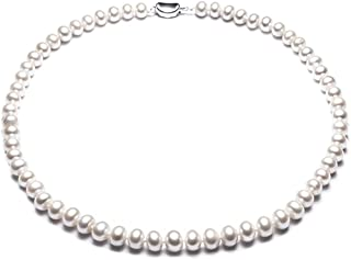 JYX Natural White Freshwater Cultured Pearl Necklace 18 inches