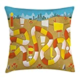 Board Game Throw Pillow Cushion Cover, Block Path on a City Park with Billboards Direction Signs Challenge Outdoors, Decorative Square Accent Pillow Case, Multicolor 16x16 Inches