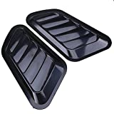 FFLY Custom Chrome Plated Decorative Air Flow Intake Turbo Bonnet Hood Side Vent Grille Cover Self-Adhesive Stick On Your Car (Black)