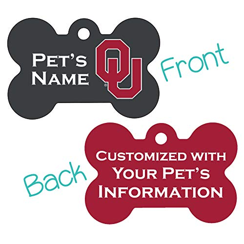 uDesignUSA Oklahoma Sooners 2-Sided Pet Id Dog Tag | Personalized for Your Pet | Officially Licensed