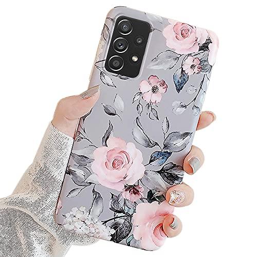 Seafirst Kompatibel mit Samsung Galaxy A52 5G Hülle, Purple Floral & Graue Blätter für Mädchen Frauen Weich TPU für Samsung Galaxy A52 5G-Blumen