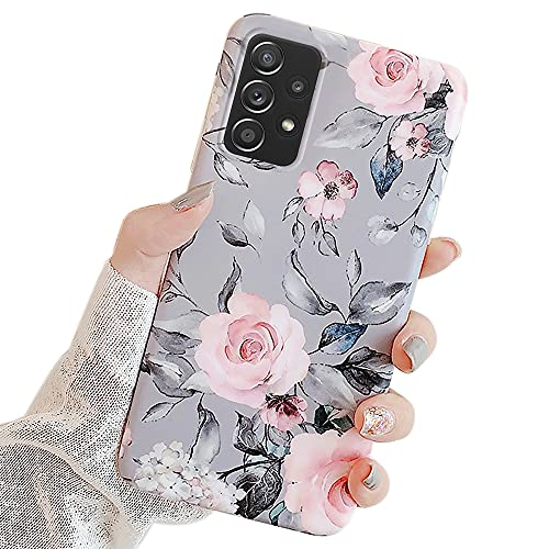 Ownest Compatible with Samsung Galaxy A52 5G Case with Purple Floral and Gray Leaves for Girls Woman Leaves with Flowers Pattern Elegant Soft TPU Protective for Samsung Galaxy A52 5G-Flowers