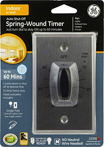 GE In-Wall Mechanical Countdown Timer Switch, Spring Wound, Up to 60 Minutes, No Neutral Wire Needed, Ideal for Lights, Exhaust Fans, and Heaters, LED 15305