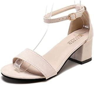 High-heeled sandals Extra large women s sandals summer new wild high-heeled shoes with a word buckle small size Roman sandals