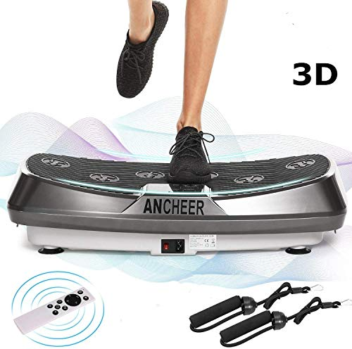 ANCHEER 2 Motoren 3D Vibrationsplatte für Body Shape Muskelaufbau, Power Fitness Vibrationstrainer mit Trainingsbändern+ Fernbedienung+ Curved Design, Ganzkörper Oszillation Vibration Plate
