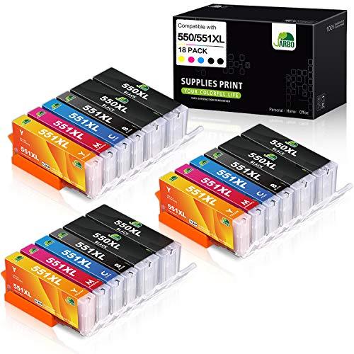 JARBO Compatibile Canon PGI-550 XL CLI-551 XL Cartucce d'inchiostro Alta Capacità Compatibile con Canon PIXMA MX725 MX925 MX920 iX6850 iP7200 iP7250 MG5550 MG5400 MG5450 MG5650 MG6450 MG6650 (6 Grande Nero,3 Piccolo Nero,3 Ciano,3 Magenta,3 Giallo)