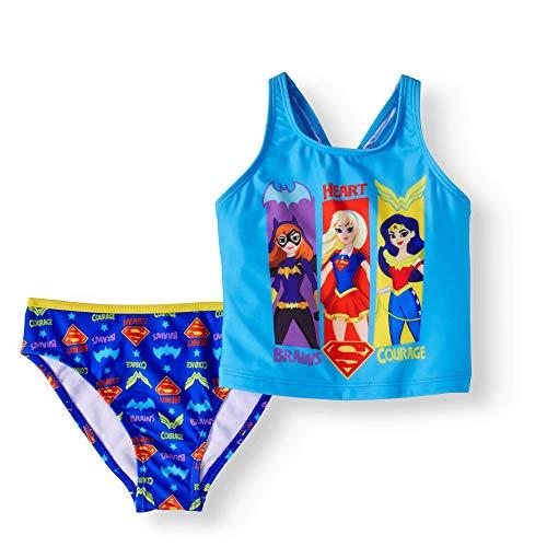 DC Comics Super Hero Girls 2 Piece Tankini Swimsuit (X-Small 4) Blue