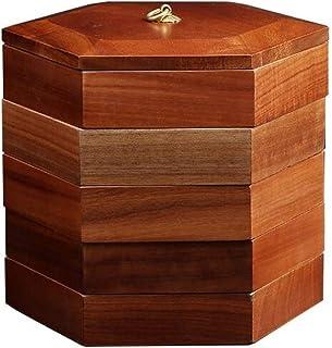 Yamyannie Organisateur de Rangement pour boîte à thé Rosewood Hexagonal Tea Box-Cinq Couches en Bois Massif thé Boîte de R...