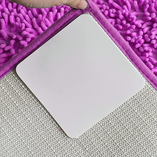 Rug Grippers,12PCS Double Sided Anti Curling Non Slip Corner Carpet Tape,Reusable Rug Pad,Durable Carpet Gripper Stoppers,Washable Rug Tape for Hardwood Floors,Tile Floors,Carpets,Wall(White)