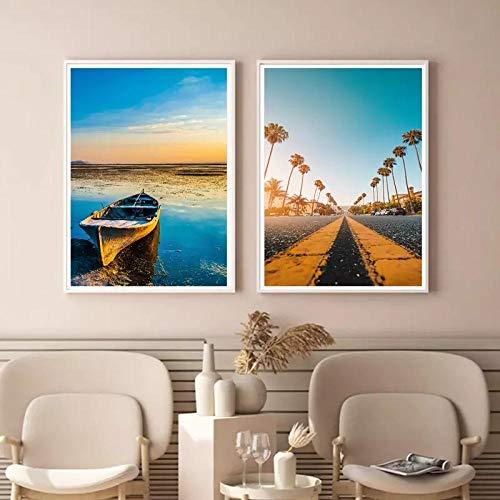 SYLZBHD Moderno coco palmera barco costa pared arte lienzo pintura carteles nórdicos e impresiones cuadros de pared para la decoración de la sala de estar 40x50cmx2 Sin marco