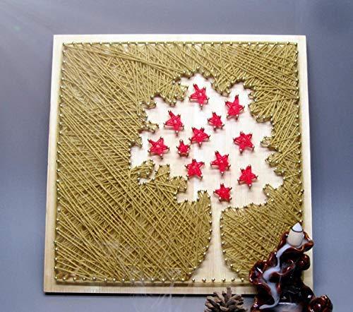 Evergreen boom handgemaakte garen tekening string schilderij nagels kronkelende foto huisdecoratie schilderij 30 * 30cm