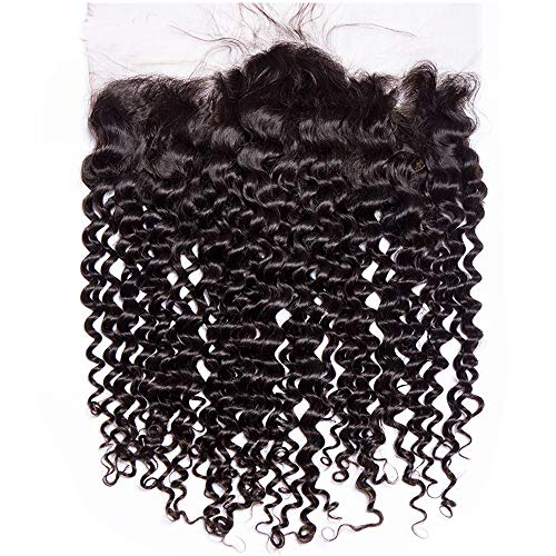kinky curly 13x4 Ear To Ear Lace Frontal Closure only Brazilian 13x4 lace frontal curly human hair Free Part (20 INCH, Curly 13x4 Frontal)