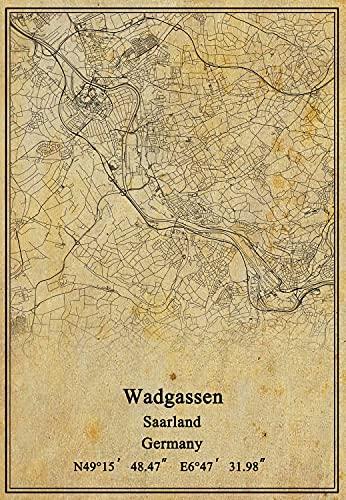 Kunstdruck auf Leinwand, Motiv Deutschland, Wadgassen, Saarlandkarte, Vintage-Stil, ungerahmt, Dekoration, Geschenk, 27,9 x 35,6 cm