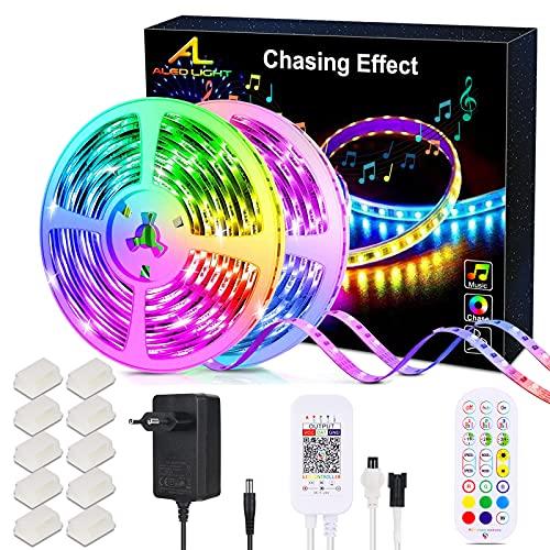 Striscia LED RGB con App, ALED LIGHT Nastri LED Bluetooth 10 M (2x5 m) 32,8 piedi 300 LED 5050 Multicolore Impermeabile IP65, Kit Strisce LED Flessibile per Decorazione Esterni Interni Festa Casa